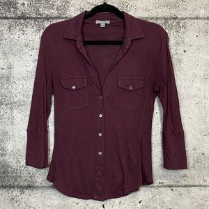 James Perse / Button Down Shirt with Ribbed Panels